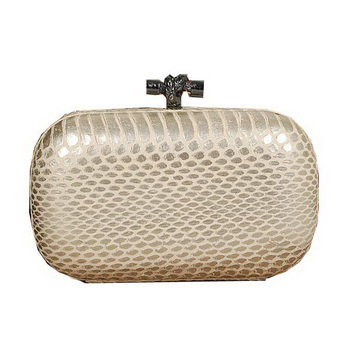 Bottega Veneta intrecciato snake vein leather impero ayers knot clutch 11308 silver